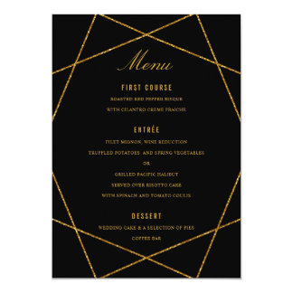 Dramatic Diamond Faux Gold Glitter Wedding Menu Card