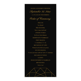 Dramatic Diamond Faux Gold Glitter Wedding Program