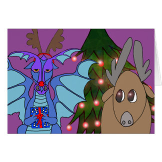 Dramatic Dragon and the Reindeer Christmas card