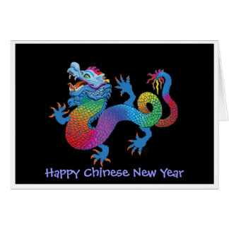 Dramatic Dragon on black Chinese New Year Card