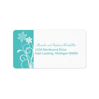 Dramatic Floral Swirls Address Labels, Aqua Label