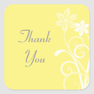 Dramatic Floral Swirls Thank You Stickers