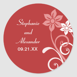 Dramatic Floral Swirls Wedding Stickers Round Stickers