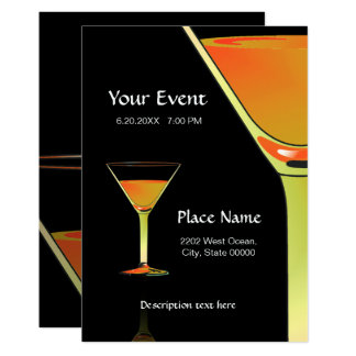 Dramatic Gold Martini Cocktails Invitation