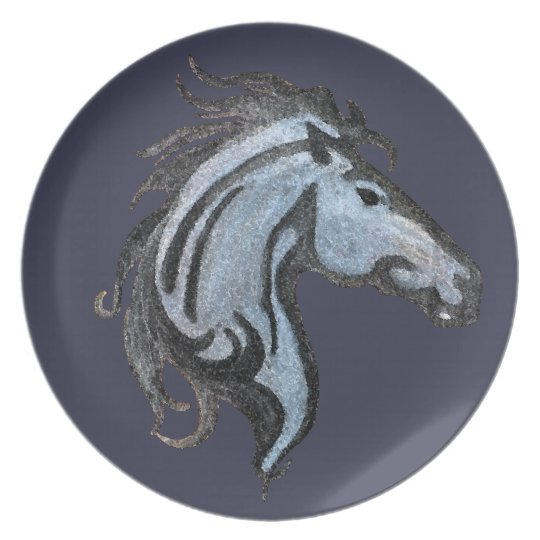 Dramatic Horse Design Melamine Plate