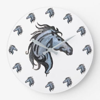 Dramatic Horse Round (large) Wall Clock