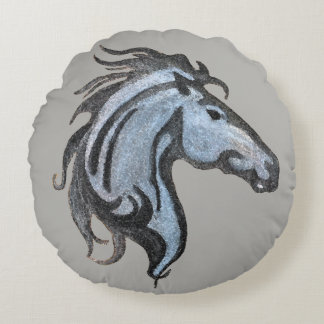 Dramatic Horse Round Pillow