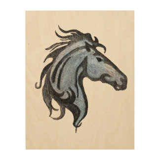 Dramatic Horse Wood Wall Art Wood Canvas