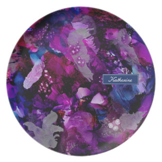 Dramatic Inks Abstract Purple Plate
