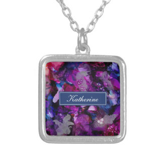 Dramatic Inks Abstract Purple Silver Plated Necklace