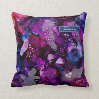 Dramatic Inks Abstract Purple Throw Pillow