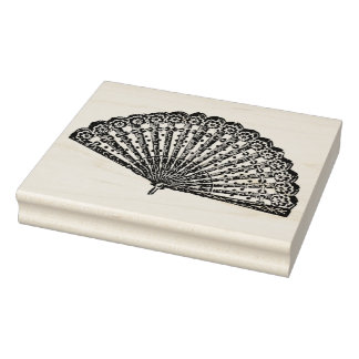 Dramatic Ladies Fan Vintage Rubber Art Stamp