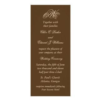 Dramatic Monogram Wedding Invitation (Brown)