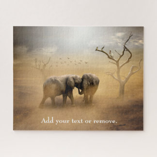 Dramatic photo of 2 elephants at dusk or sunset. jigsaw puzzle