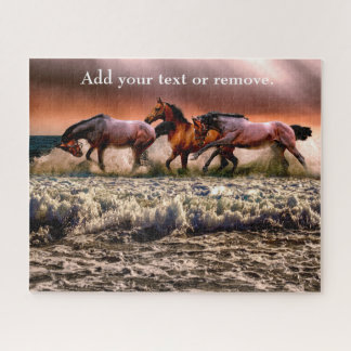 Dramatic photograph of horses running on a beach, jigsaw puzzle