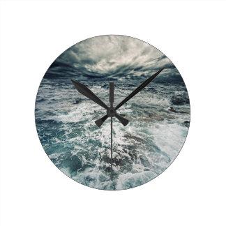 Dramatic Seas Round Clock