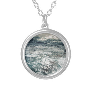 Dramatic Seas Silver Plated Necklace