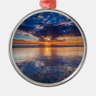 Dramatic seascape, sunset, CA Metal Ornament