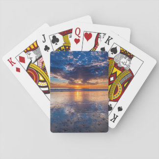 Dramatic seascape, sunset, CA Poker Deck