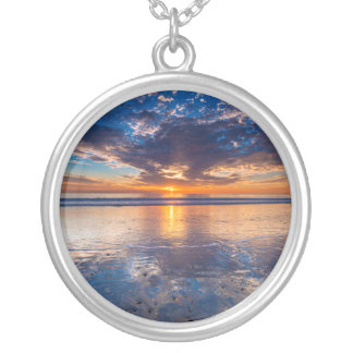 Dramatic seascape, sunset, CA Silver Plated Necklace