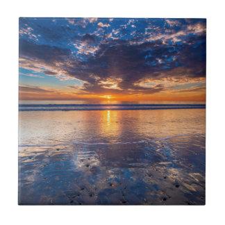 Dramatic seascape, sunset, CA Tile