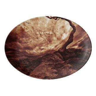 Dramatic Sky Over Old Lonely Tree Porcelain Serving Platter