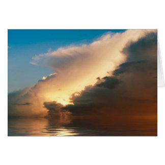Dramatic sunset above the ocean card