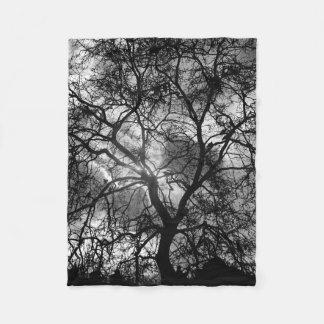 Dramatic Tree Silhouette Fleece Blanket