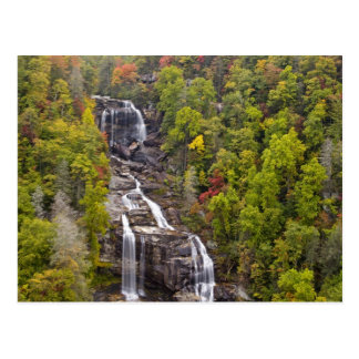 Dramatic Whitewater Falls in autumn in the Postcard