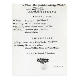 Dramatis Personae for Samson Postcard