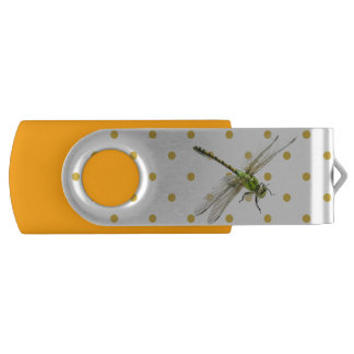 Drangonfly and polka-dots swivel USB 3.0 flash drive