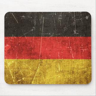 Drapeau âgé et rayé de cru de l'Allemagne Tapis De Souris