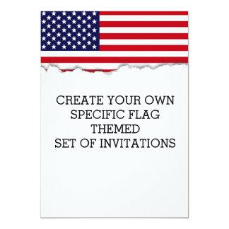 Drapeau américain carton d'invitation  12,7 cm x 17,78 cm