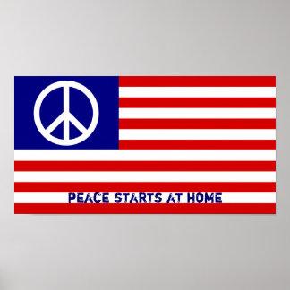 Drapeau américain et signe de paix poster
