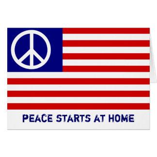 Drapeau américain et signe de paix carte de vœux