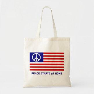Drapeau américain et signe de paix sac en toile budget