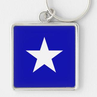 Drapeau bleu mignon porte-clé carré argenté