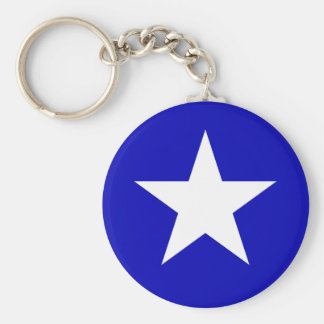 Drapeau bleu mignon porte-clé rond