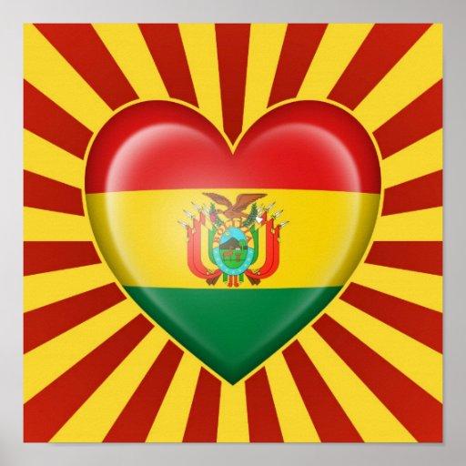 Drapeau bolivien de coeur avec des rayons de Sun Posters