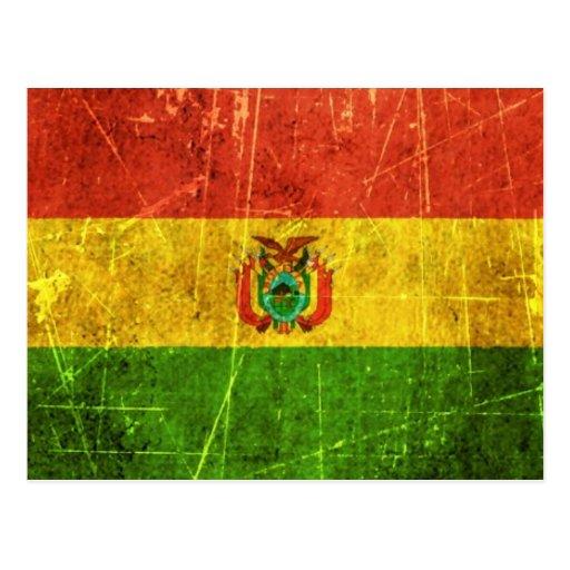 Drapeau bolivien vintage rayé et porté carte postale