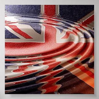 Drapeau Britannique reflété Poster