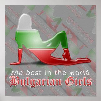 Drapeau bulgare de silhouette de fille affiche