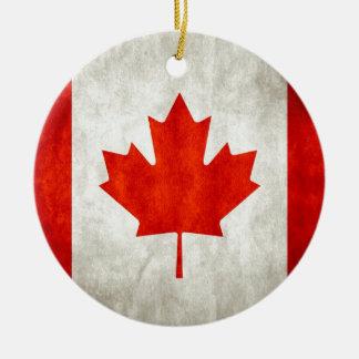Drapeau canadien affligé ornement rond en céramique