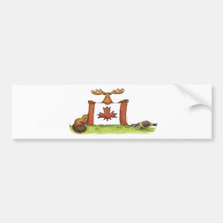 Drapeau canadien avec les orignaux, le castor et l autocollant de voiture