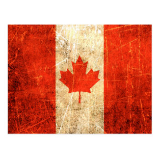Drapeau canadien vintage rayé et porté carte postale