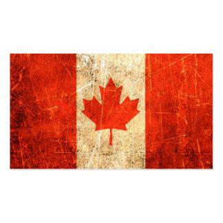 Drapeau canadien vintage rayé et porté carte de visite standard