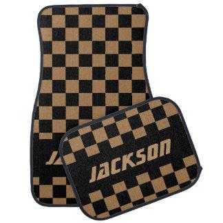 Drapeau Checkered de voiture de course dans Tan et Tapis De Sol