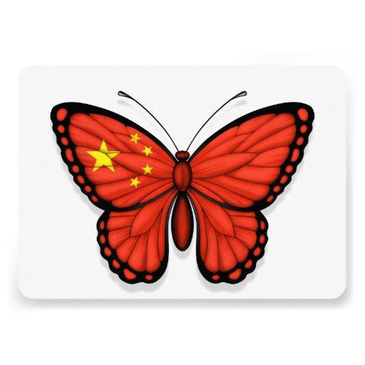 Drapeau chinois de papillon invitation personnalisée