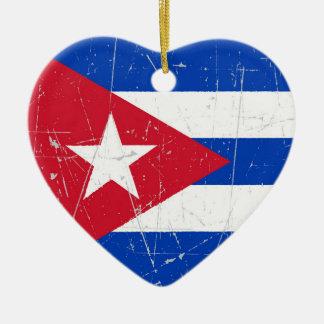 Drapeau cubain éraillé et rayé décoration pour sapin de noël