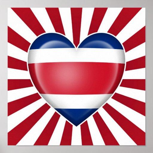 Drapeau de coeur de Rican de côte avec des rayons  Posters